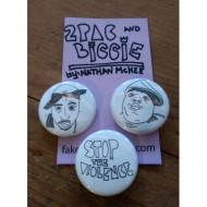 Biggie and Tupac button set by Nathan Mckee