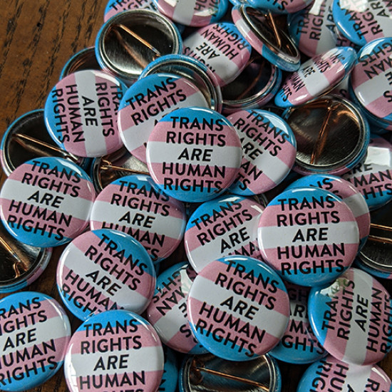 "Trans Rights Are Human Rights 1"" buttons in bulk"